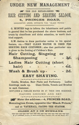 Advert For G Winter, Hair Cutting & Shaving Saloon